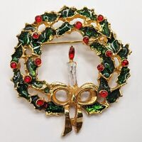 Vintage Gold Tone Enamel Green Red Candle Christmas Wreath Pin Brooch Brooch