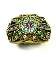 LOVELY HEIDI DAUS BRASS-TONE SKY BLUE LIME GREEN RHINESTONE FLORAL RING SIZE 7
