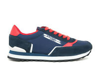 TRUSSARDI Men's Sneakers Shoes in Blue Suede/Fabric New