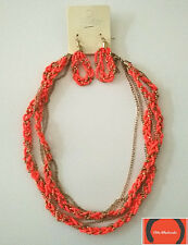 Esmor fashion orange braided tiered seed bead necklace & earring set