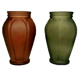 "Frosted Glass Vase Set 2 Flower Vases Fun Shape Home Decor 10"" Tall Planter Pot"