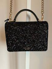 Kate Spade Laurel Way Glitter Maisie Black Leather Crossbody Bag WKRU5692