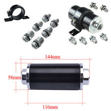 Car Racing Fuel Filter 100 Micron Cleanable AN6 AN8 AN10 Fitting+Mount Holder