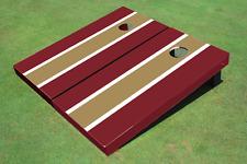 Dark Gold And Maroon Matching Long Stripe Custom Cornhole Board