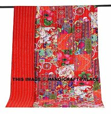 Indian Handmade Embroidery Red Floral Patchwork Kantha Quilt Throw Bedspread