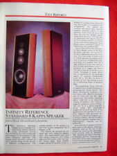 """Infinity Reference Standard 8 Kappa loudspeaker test review """"Stereo Review"""" 1987"""
