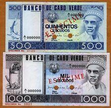 SPECIMEN SET, Cape Verde, 500;1000 Escudos, 1977, P-55-56 (55s-56s) UNC