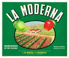 GENUINE APPLE CRATE LABEL VINTAGE 1950S MODERN LA MODERNA ARGENTINA RARE