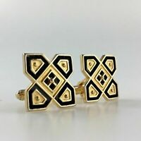 Vintage Anson Cuff Links Geometric Black Gold Tone Shirt Wedding Man Gift