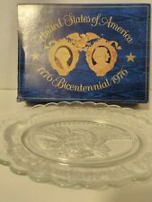 Avon Bicentennial Clear Glass Eagle Plate Original Box 13 Stars Usa