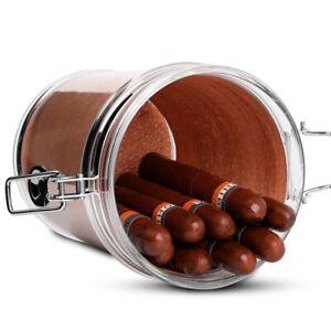 Acrylic Humidor Jar 18 Cigar Case with Hygrometer with Spanish Cedar Wood Lining