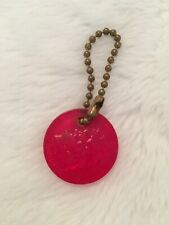 Vintage 1960's Ford Rotunda Red Key Ring Chain Edsel Henry Ford Embossed Heads