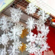 30Pcs Christmas White Snowflakes Xmas Tree Decorations Ornaments 11CM
