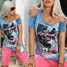 By Alina Mexton Damen Jeans T-Shirt Tunika Longshirt Bluse Longtop Print XS-M