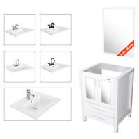 "24"" White Bathroom Vanity W/Mirror Drop in Vessel Sink Cabin Faucet Drain Combo"