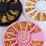 12 Patterns/Box Metal Studs 3D Nail Art Decoration in Wheel Gold Plated
