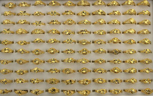 50pcs Wholesale Jewelry Lots Mixed Gold P Rings Fashion Lady's Adjustable Ring