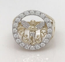 Men's 10K Yellow Gold Angel Ring Micro Pave CZ Setting Size 10