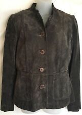 City DKNY Brown Suede Jacket Size 10 Button Front Lower Pockets Set On Waist