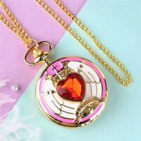 Golden Anime Magic SAKURA Pendant Pocket Watch for Girls Necklace Chain