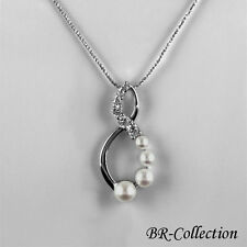 Sterling Silver Infinity Pendant with Freshwater Pearls and CZ Stones