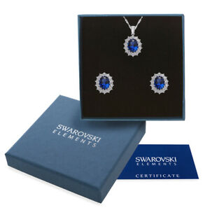Elegante parure oro bianco Swarovski Element originale G4Lov cristalli blu donna