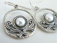 Didae Sterling Silver 925 Freshwater Pearl Organic Medallion Dangle Earrings