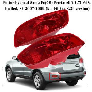 Rear Bumper Reflector Light Lamp Cover Red Lens for Hyundai Santa Fe 2007-2009
