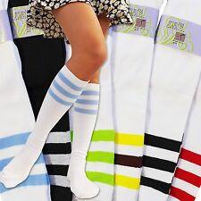 NEW Girls ARCRYLIC Referee Knee High CASUAL 10-13 MULTI-COLOR Socks 6-Pair-Pack