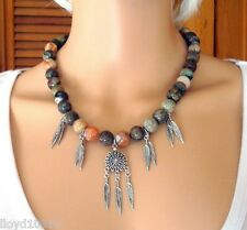 "Calico Flower Agate 10mm & Silver Plate Feather Beaded 18"" Necklace"