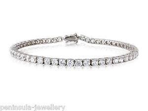 "Sterling Silver CZ Tennis Bracelet Ladies 7"" Hallmarked Gift Boxed 9.3g"