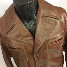 Vtg 70's Men's Brown HEAVY LEATHER Car Coat 3-BTN Lined SAFARI Style Jacket 38