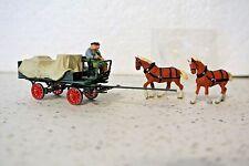 Preiser 30446 Horse Drawn Wagon w/Tarpaulin And Two Figures  C-9 NIB