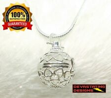 925 Sterling Silver Womens Heart Design Chime Ball Locket & Snake Necklace D525