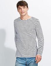 Herren Longsleeve Striped T-Shirt Marine gestreift | SOLs