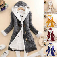 Womens Casual Knit Button Cashmere Thick Warm Hooded Cardigan Coat Jacket Plus