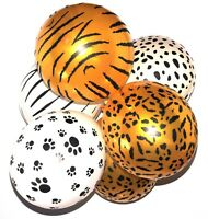 "Pack of 10 - Safari Animal Print  12"" Latex Balloons 4 Animal Patterns Designs"