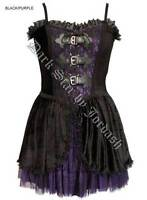 Ladies Black Purple Gothic Steampunk Victorian Velvet & Lace Dress Size 10-16