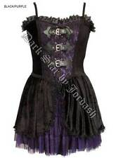 Ladies Black Purple Gothic Steampunk Victorian Velvet & Lace Dress Size 10-16