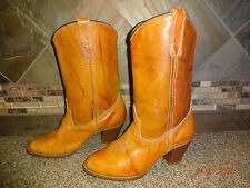 """Womens ACME Sz 7.5M Camel Brown Marble Leather Cowboy Boots 2.5"""" Heels"""