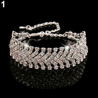 AG_ Multilayer Rhinestone Party Wedding Wrap Cuff Bangle Chain Bracelet Bluelans