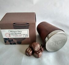 Handcrafted Wooden Dice And Shaker M&S Chrome Engraved Lid 5 Dice