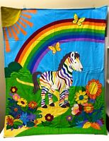 """Vintage Bedding Rainbow Unicorn Baby Crib Toddler Quilted Blanket 41""""x32"""" Filled"""
