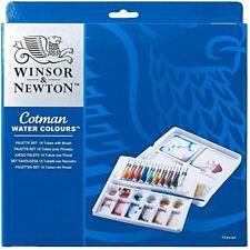 NEW!! Winsor & Newton COTMAN Water Colours Palette Set 10 Tubes w/Brush (5913)