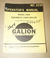 1975 Galion Model 3500 Pneumatic Tired Roller Operator's Manual P/N 2230