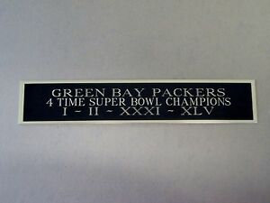 Green Bay Packers 4X Super Bowl Nameplate For A Football Jersey Case 1.5 X 6