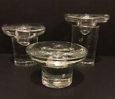 MCM Blenko American Candlesticks Set 3 Mushroom Mid Century Modern Handmade VTG