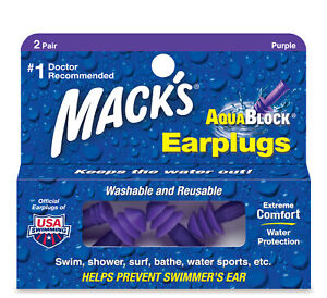 Mack's AquaBlock Earplugs 2 Pair Comfortable Waterproof Ear Plugs Swim Showering