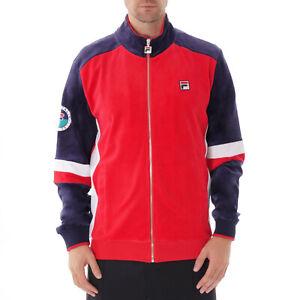 Fila Men's Velour Velour sweat suit tracksuit Navy & Red TOP & BOTTOM SET M-XXL