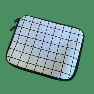 Black & white grid pattern laptop sleeve padded. 13 inch or smaller BRAND NEW